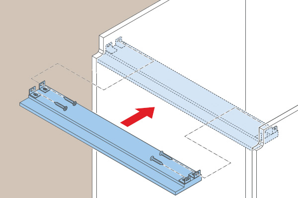 Assembly-instruction dishwasher mounting strip