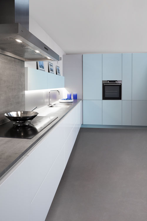 Moderne keuken Artic Blue tip on