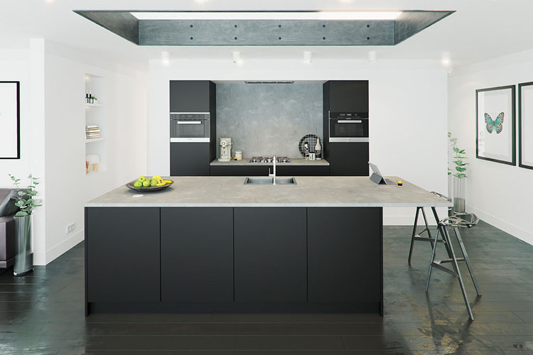 Moderne Keuken Matt Black - tip-on - Carbon